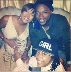 Eva Pigford, her boyfriend Kevin McCall and a friend celebrate the impending arrival of daughter Marley