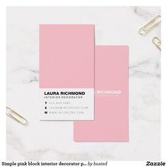 Profissional cor-de-rosa simples do decorador cartão de visitas