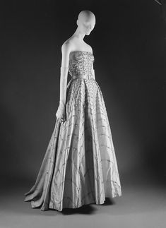 Dress (Ball Gown)  House of Dior  (French, founded 1947)  Designer: Christian Dior (French, 1905–1957) Date: spring/summer 1953 Culture: French Medium: silk, nylon, glass, metallic