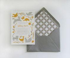 baby shower invite. gold + gray + animals = perfect. {moglea}