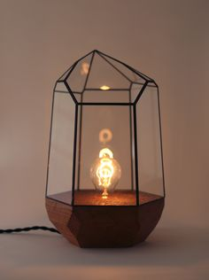 """Score and Solder""  I have just discovered a whole bunch of beautiful things on this site. This is a Wood Base Quartz Lamp."