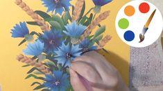 How to paint a Flower, Cornflowers, cómo dibujar flores azules, irishkalia