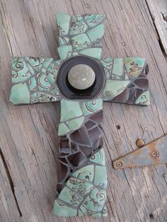 glass mosaic cross from fb His House Mosaic Arts