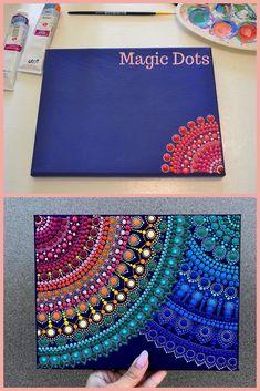 Contact of two mandalas Mandala Art Lesson, Mandala Artwork, Mandala Canvas, Mandala Drawing, Mandala Painting, Dot Art Painting, Stone Painting, Meditation Art, Mandala Rocks