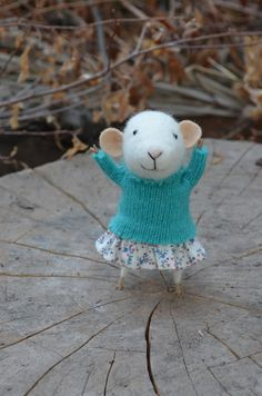 Cute Little Girl Mouse in Blue, Felt Doll Art.