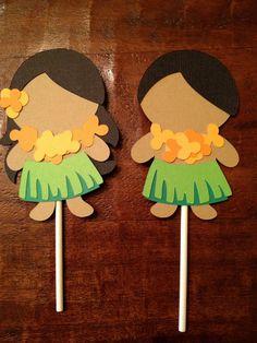 Luau Hawaiian Cupcake Toppers