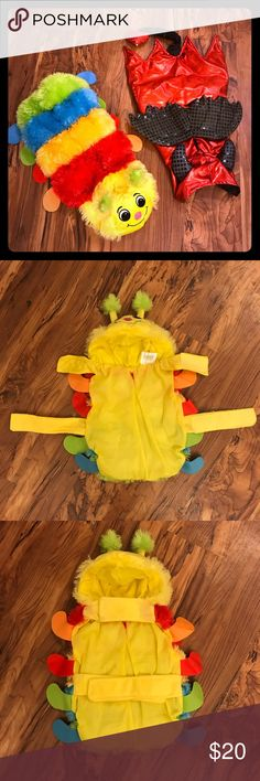 2 adorable pup costumes- Size Medium. Like new Doggy costumes! Too cute!  Caterpillar and Devil - both size medium  Both feature Velcro belly and neck straps and holes for leash clip access. Hand wash, air dry.  Really super duper awesomely adorable....   Any questions just ask! Pet Halloween Other