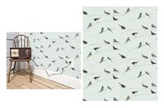 Garden Birds Wallpaper Duck egg blue wallpaper with interesting black illustrated garden birds design, enlivened by shocks of powder blues, pinks and yellows.