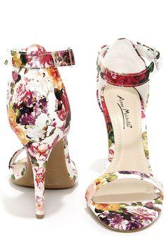 White Floral Print Single Strap Heels