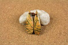 Black Feather Jasper Teardrop Earring Pair  Orange by ABOSBeads
