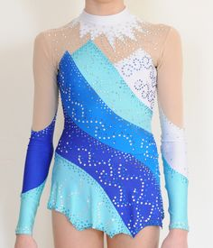 Custom Made Rhythmic Gymnastics Competition Leotard Used Blue | eBay