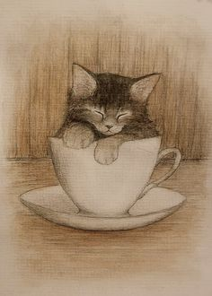 Kitten in a Teacup Illustration by Aleteo