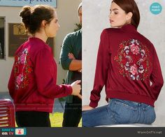 Bay's red bomber jacket with floral embroidered back on Switched at Birth.  Outfit Details: https://wornontv.net/65187/ #SwitchedatBirth
