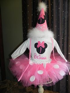 Mouse Birthday Tutu Outfit with Skirt Tutu Carters romper onsie with Mouse Applique light pink, hat, Great for 1st 2nd 3rd Minnie Birthday. $60.00, via Etsy.