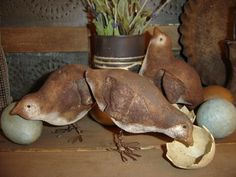 Just in time for spring! You will get directions for all 3 Chicks and painted Eggs .The Chicks measure 3x5 and 3 � x 5 inches in size. They were painted and aged .The 8 eggs come in different prim colors and aged as well. You can display on your table or an old primitive cupboard!