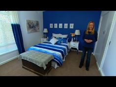Tara shows how you can brighten a room by simply adding selective splashes of one colour: bold blue. Welcome to the official Great Home Ideas channel, the de. Blue And Yellow Bedding, Master Bedroom, Bedroom Decor, Bedroom Ideas, One Color, Bed Sheets, Toddler Bed, Home And Garden, House Design