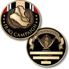 A significant recognition of military service performed in Iraq, the Iraq Campaign Medal celebrates American active duty heroes who fought for freedom, securing Veterans Office, Drill Instructor, Military Challenge Coins, Military Memorabilia, Anime Military, Coin Design, Fight For Freedom, Commemorative Coins, Coin Collecting