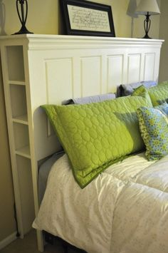 Trendy Old Door Headboard With Shelves 53 Ideas Headboard From Old Door, Headboard With Shelves, Headboard Door, Diy Storage Headboard, Headboards With Storage, Double Headboard, Diy Furniture, Bedroom Furniture, Furniture Stores