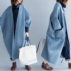 Type: Coat Waist type: Loose Pattern: Plain Material: Wool Season:Winter Color:Beige,Blue Size:One Size – Winter Coat Kimono Coat, Coat Dress, Plaid Dress, Coats For Women, Jackets For Women, Mode Kimono, Womens Windbreaker, Windbreaker Jacket, Check Coat