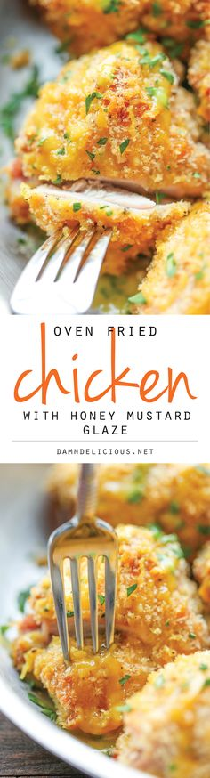 Oven Fried Chicken with Honey Mustard Glaze - No one would ever guess that this was baked, not fried. And the honey mustard glaze is to die for! chicken dinner, main dish, weeknight dinners and meals(Fried Chicken Healthy) Turkey Recipes, Chicken Recipes, Kid Recipes, Chicken Meals, Boneless Chicken, Chicken Pasta, Rotisserie Chicken, Honey Mustard Glaze, Honey Mustard Chicken Baked