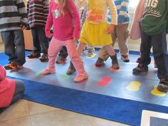 Day 2: group activity jump on color shoes Storybook Games by Teach Preschool