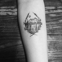 Mountains and lake tattoo idea. (Pinterest: @OneTribeApparel)
