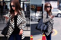 GroopDealz   Black and White Striped Cardigan