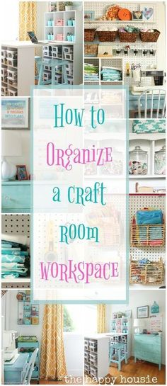 This is full of amazing ideas for how to organize a craft room or creative work space using thrifty and cute storage ideas and a step by step process. room How to Organize a Craft Room Work Space Craft Room Design, Craft Room Decor, Craft Room Storage, Ideas For Craft Room, Basement Craft Rooms, Pegboard Craft Room, Small Craft Rooms, Room Decorations, Bedroom Storage