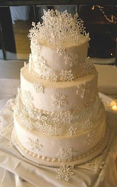 Cakes.   Would look better with out all the snow flakes crowding the top!!!!!!!