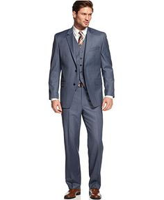 Shaquille O'Neal Blue Sharkskin Suit Separate Big and Tall - Suits & Suit Separates - Men - Macy's