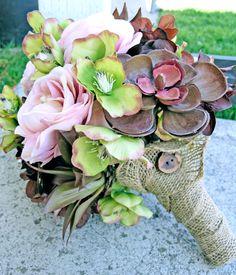 Rustic Wedding Flowers, Silk Bridal Bouquet, Succulent Wedding Bouquet. $96.35, via Etsy.