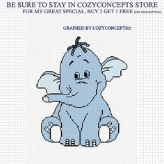 COZYCONCEPTS PATTERN GRAPHS SWEET BLUE BABY ELEPHANT CROCHET PATTERN GRAPH AFGHAN EMAILED | CozyConcepts - Patterns on A