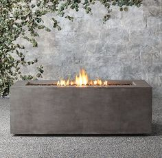 For the rooftop patio: Mendocino Propane Rectangle Fire Table - Restoration Hardware Rustic Fire Pits, Metal Fire Pit, Concrete Fire Pits, Diy Fire Pit, Fire Pit Backyard, Gas Fire Pits, Natural Gas Fire Pit, Smooth Concrete, Backyard Retreat