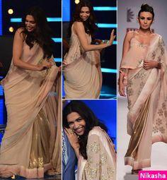 Deepika Padukone promotes Finding Fanny in a Nikasha saree.