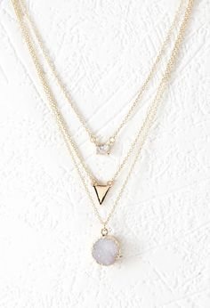 http://rubies.work/0404-sapphire-ring/ Rhinestone Layered Chain Necklace | Forever 21 #accessorize