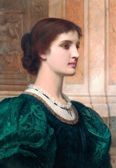 Perugini's portrait of his married adult woman Kate shows her wearing a sumptuous greenish clothing over a white blouse, facing to the ri. Lady Lever Art Gallery, Digital Museum, Irish Art, Pre Raphaelite, Impressionist Art, Beautiful Paintings, Dark Hair, Green Dress, People
