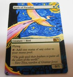 MTG Altered Painted Birds of Paradise M12 #WizardsoftheCoast