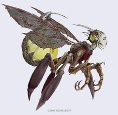 Thriae (Fae)(Medium) – While the gentle Thriae resemble humanoid bee nymphs, the evil and corrupted Thriae take the form of monstrous wasps that only have the faces of their former nymph forms. They collect the souls of their victims for their queen and lay their eggs inside living victims so they form a hatchery for their brood. (Greek)