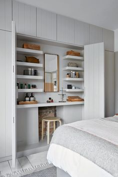 Striking and stylish built-in wardrobes ideas to inspire you - Bedroom Storage Ideas And Stylish Built-In Fitted Wardrobe Ideas - Built In Cupboards Bedroom, Bedroom Built In Wardrobe, Closet Bedroom, Wardrobe Storage, Dressing Table In Wardrobe, Wardrobe Bed, Bedroom Built Ins, Build In Wardrobe, Built In Wardrobe Ideas Alcove