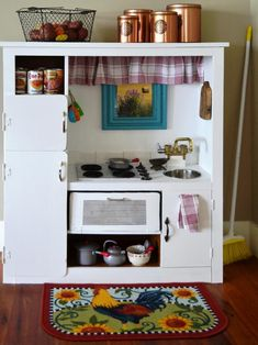 Toy kitchens can be very expensive. Save money by turning a popular (but inexpensive) 1980s piece of furniture into a personal kitchen for your budding little chefs.