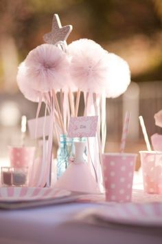 pink ballerina tulle party decoration tulle pom poms