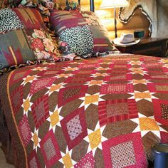 Traditional Squares & Stars Bed Quilt Pattern