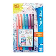 Paper Mate Flair Porous-Point Felt Tip Pen, Medium Tip, 6-Pack, Limited Edition Tropical Vacation Colors (1927997), http://www.amazon.com/dp/B00UHJC480/ref=cm_sw_r_pi_awdm_9paUvb1277K2Y