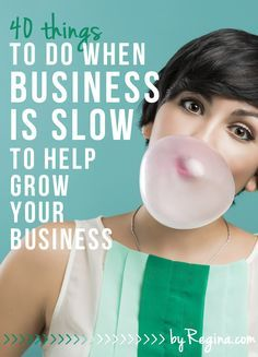 Here are --> 40 Things to Do When Business is Slow (to help grow your business). These are great tips + activities for your business as you grow. #biz #creative