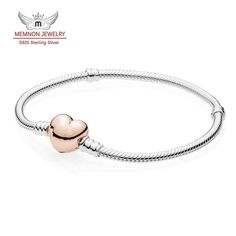 925 Sterling silver bracelets for women with Rose gold plated heart clasp fit silver charms bracelet DIY Memnon  jewelry YL041