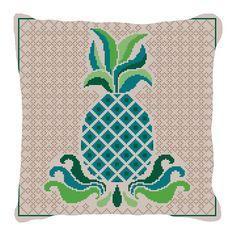 Tropical Pineapple Needlepoint Pillow   NeedlePaint
