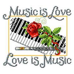 Music is Love cross stitch pattern.