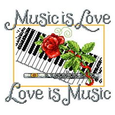 Music is Love cross stitch pattern.
