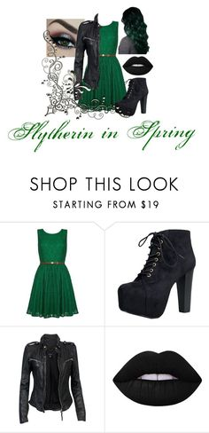 """""""Slytherin in Spring"""" by piper-chauhan ❤ liked on Polyvore featuring Anastasia Beverly Hills, Yumi, Speed Limit 98, MuuBaa and Lime Crime"""