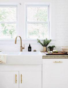 Concrete + Gold + Modern Kitchen